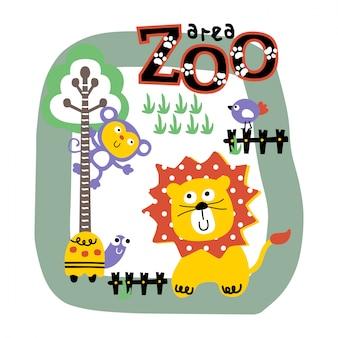 Lion et ami dans le zoo dessin animé animal drôle, illustration
