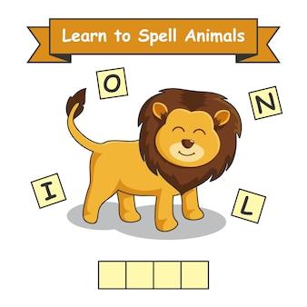 Lion apprendre à épeler des animaux