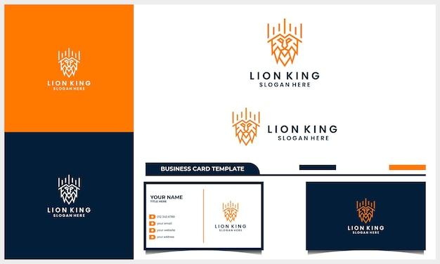Lion d'art de ligne avec le concept de conception de logo de roi de couronne et le modèle de carte de visite