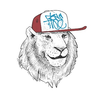 Lion au chapeau, dessiné à la main. impression d'illustration.