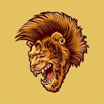 Lion aux cheveux mohawk