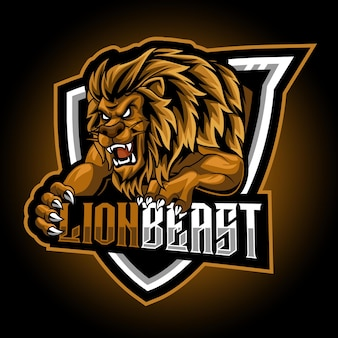 Lion bête animal mascotte esport logo gaming