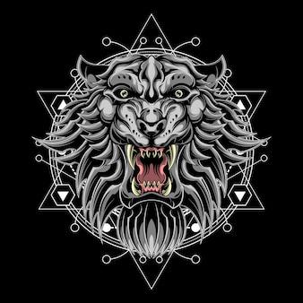 Lion blanc géométrie sacrée