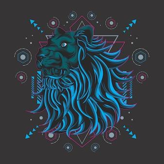 Lion bleu géométrie sacrée