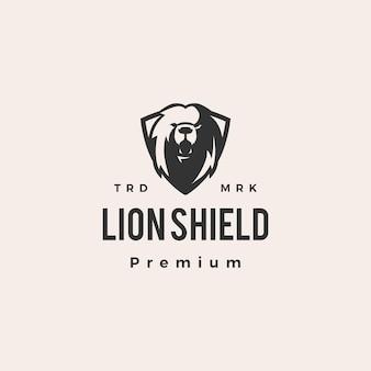 Lion bouclier hipster logo vintage icône illustration