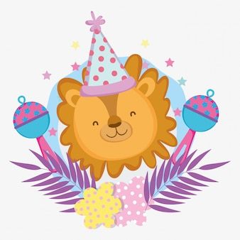 Lion avec chapeau de fête et hochet à la douche de bébé