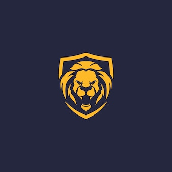 Lion en colère bouclier logo vector icon modèle illustration