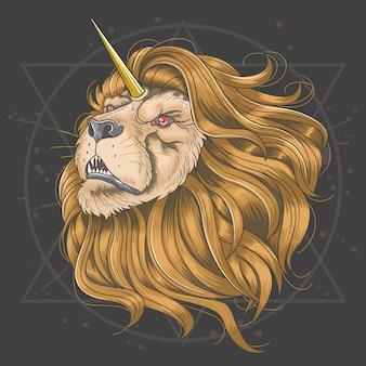Lion corne licorne cheveux dorés
