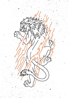 Lion design monoline art