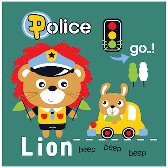 Lion le dessin animé animal drôle de police, illustration vectorielle