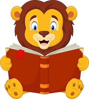 Lion dessin animé lisant un livre