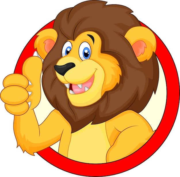 Lion dessin animé mignon abandonnant le pouce