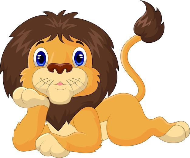 Lion de dessin animé mignon relaxant