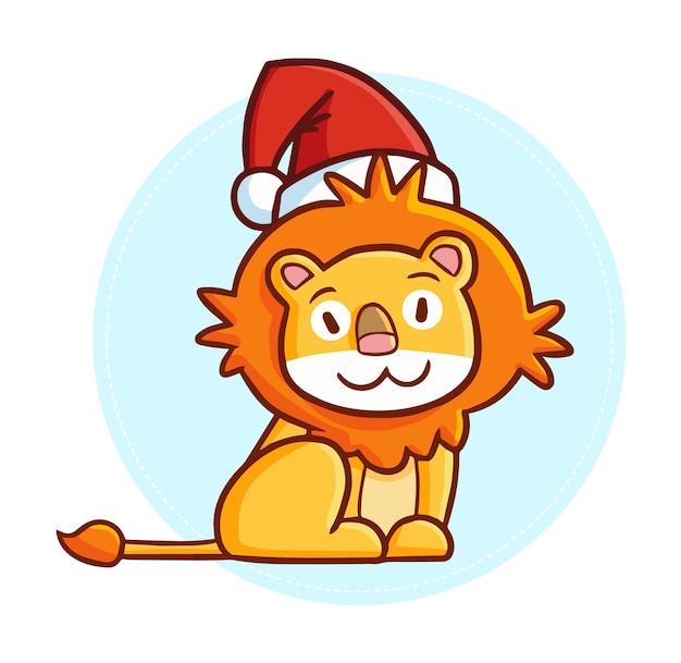 Lion de dessin animé de noël