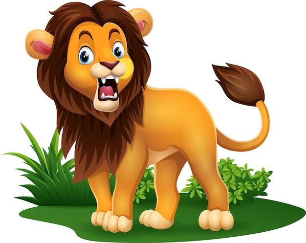 Lion de dessin animé rugissant dans l'herbe