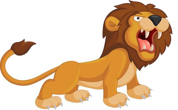 Lion dessin animé rugissant