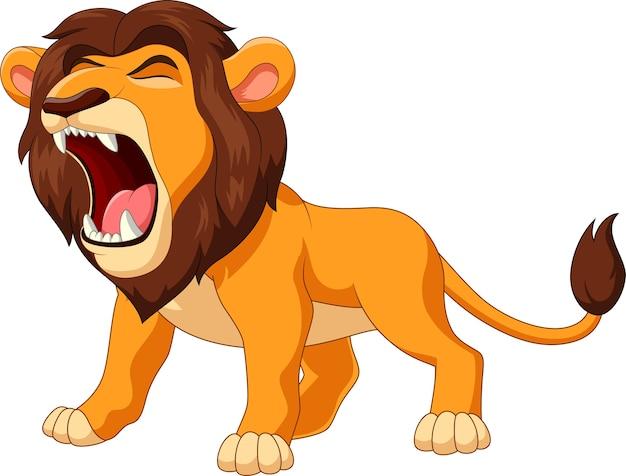 Lion de dessin animé rugissant