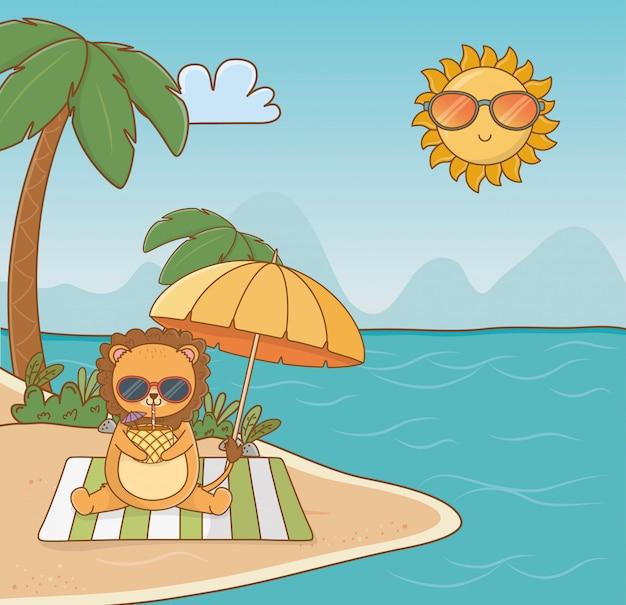 Lion dessin animé et saison d'été
