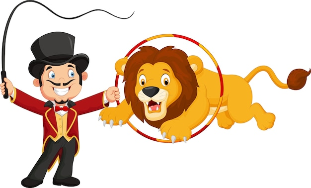 Lion dessin animé sautant à travers l'anneau