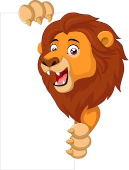 Lion dessin animé tenant une pancarte blanche