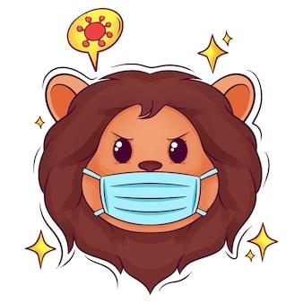 Lion dessiné main mignon avec masque