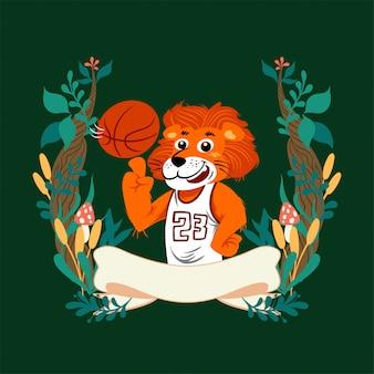 Lion dessinée dessin animé mignon vector portant uniforme de panier avec cadre floral