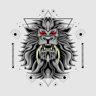 Lion double crocs géométrie sacrée