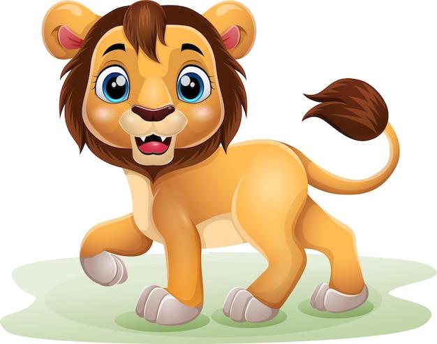 Lion drôle de dessin animé sur blanc