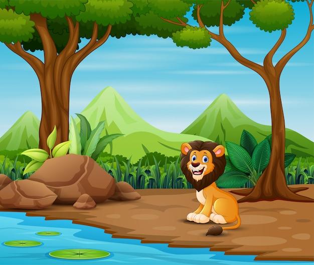 Lion effrayant dessin animé vivant dans la forêt