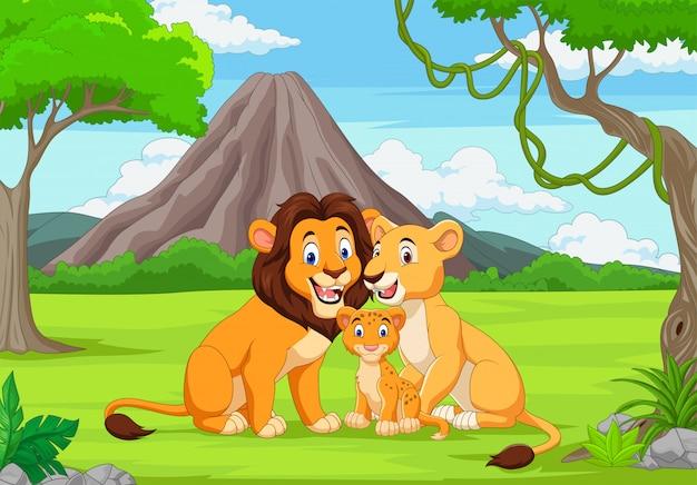 Lion de famille de dessin animé dans la jungle