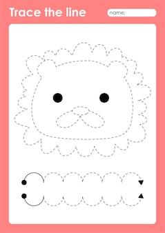 Lion - feuille de travail préscolaire de lignes de traçage pour les enfants pour la pratique de la motricité fine