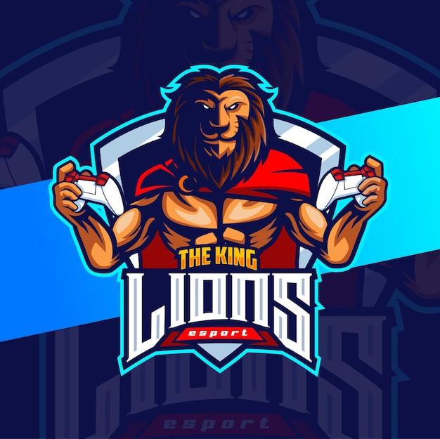 Lion fighter mascot gaming logo esport design