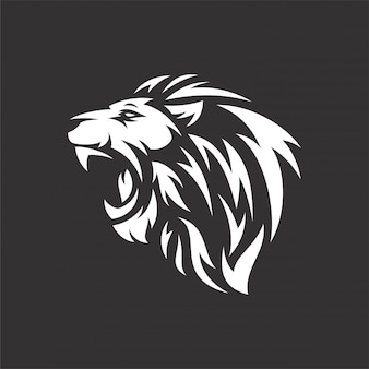 Lion head logo tribal