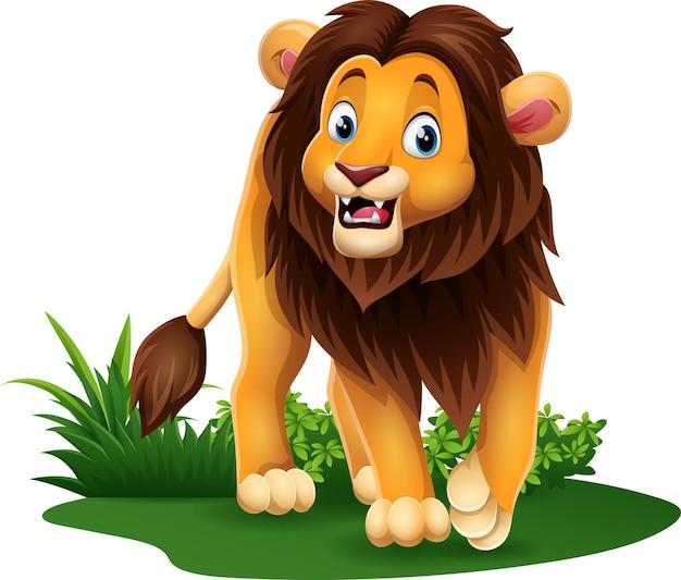 Lion heureux de dessin animé dans l'herbe