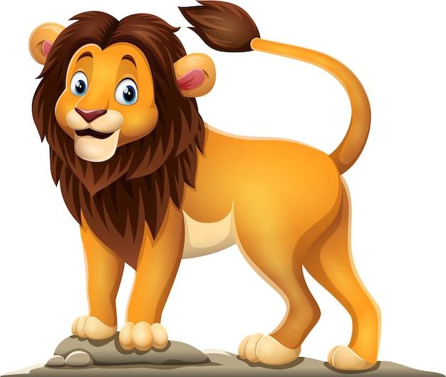 Lion heureux de dessin animé sur fond blanc
