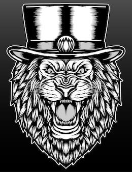 Lion de hipster avec chapeau haut de forme isolé sur fond noir