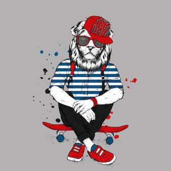 Lion hipster élégant et planche à roulettes