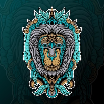 Lion avec illustration d'ornement zentangle