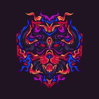 Le lion de l'illustration vectorielle de destruction