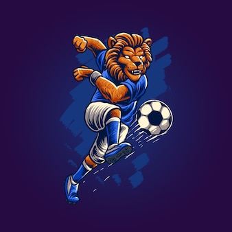 Le lion jouant au football illustration