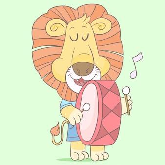 Lion jouant de la musique