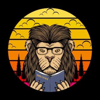 Lion, lecture, coucher soleil, retro, illustration