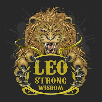 Lion leo zodiac gold vecteur de cheveux
