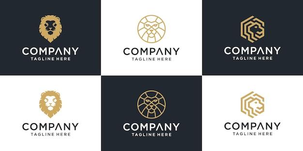 Lion logo design icône symbole vecteur modèle