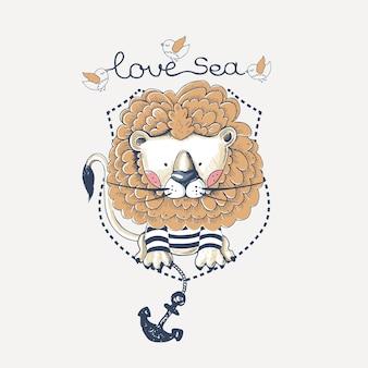 Lion marin dessiné à la main peut être utilisé pour la mode de conception de chemises pour enfants ou bébés