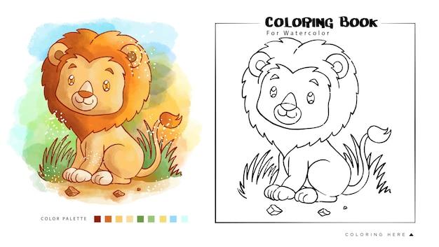 Lion mignon aquarelle pour cahier de coloriage