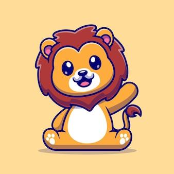 Lion mignon assis cartoon vector icon illustration. concept d'icône de nature animale isolé vecteur premium. style de dessin animé plat