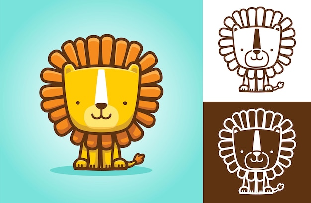 Lion mignon assis en souriant. illustration de dessin animé dans le style d'icône plate