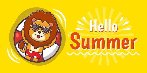 Lion mignon avec bannière de voeux d'été