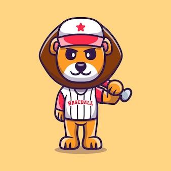 Lion mignon avec batte de baseball